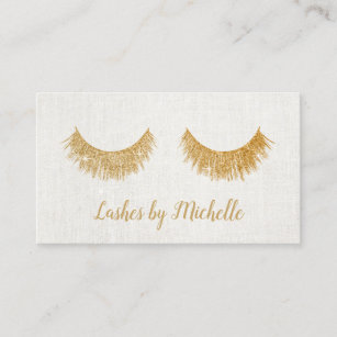 lashes makeup artist chic gold eyelash extensions business card - Eyelash Extension Gift Certificate Template