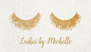 Eyelash extensions business cards templates zazzle lashes makeup artist chic gold eyelash extensions business card colourmoves