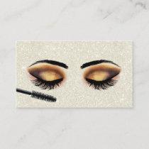 Lashes Makeup Artist Ivory Glitter Modern Salon Business Card