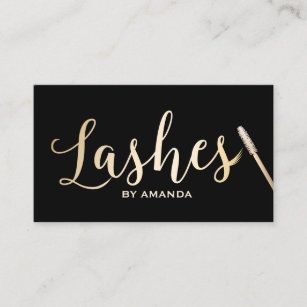 3c94ef71a2dad Lashes Makeup Artist Modern Black & Gold Business Card