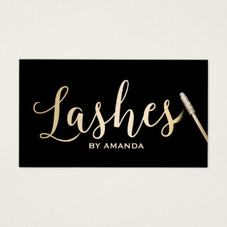Tiffany Blue Faux Gold Lashes Script Makeup Artist Business Card