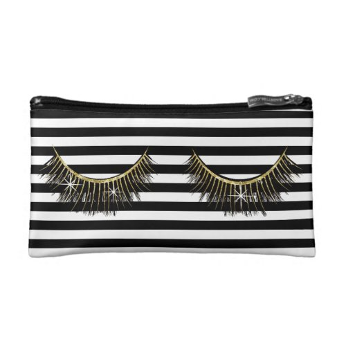 Lashes Makeup Artist Modern Black Stripes Cosmetic Bag