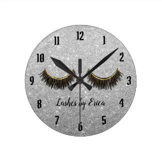Lashes Makeup Artist Modern Silver Glitter Round Clock