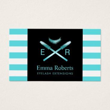 McTiffany Tiffany Aqua Lashes Makeup Artist Modern Tiffany Blue Stripes Business Card