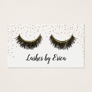 Lashes Makeup Artist Rose Gold Confetti Loyalty Business Card
