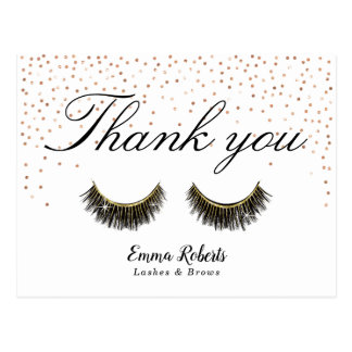 Lashes Makeup Artist Rose Gold Confetti Thank You Postcard