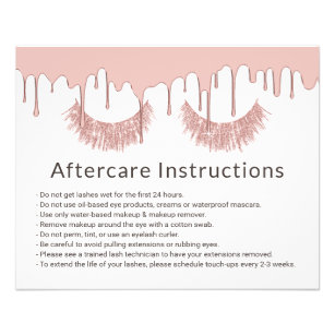 Lashes Makeup Artist Rose Gold Dripping Aftercare Flyer