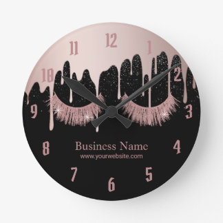 Lashes Makeup Artist Rose Gold Dripping Salon Round Clock