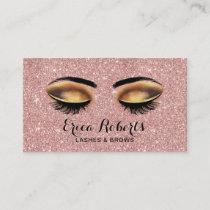 Lashes Makeup Artist Rose Gold Glitter Salon Business Card