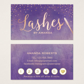 Lashes Makeup Artist Rose Gold Purple Loyalty Business Card