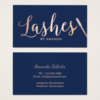 Lashes Makeup Artist Rose Gold Script Navy Blue Business Card