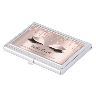 Lashes Makeup Artist Rose Sparkly Drips Glitter Business Card Case