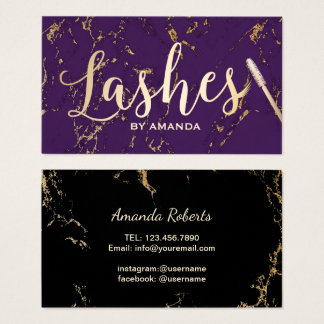 Lashes Makeup Artist Typography Gold & Purple Business Card