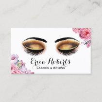 Lashes Makeup Artist Vintage Floral Beauty Salon Business Card