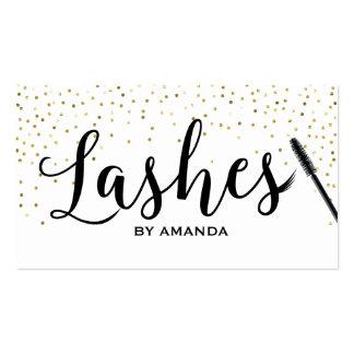 Lashes Makeup Classy Script Modern Gold Confetti Business Card