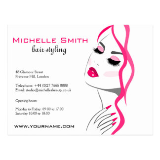 Lashes Manicure Hair Pink Girl Beauty Branding Postcard