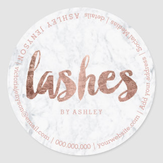 Lashes modern faux rose gold typography marble classic round sticker