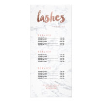 Lashes modern gold typography marble price list rack card