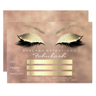 Lashes Pink Line Rose Gold Makeup Certificate Gift Card