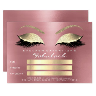 Lashes Red Bean Rose Gold Makeup Certificate Gift Card
