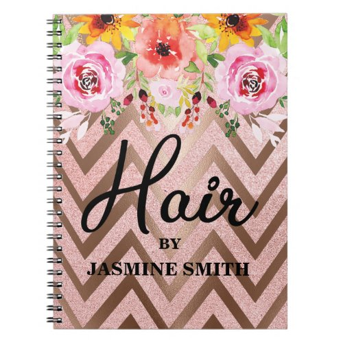 Lashes Rose Gold Glitter Floral Appointment Notebook