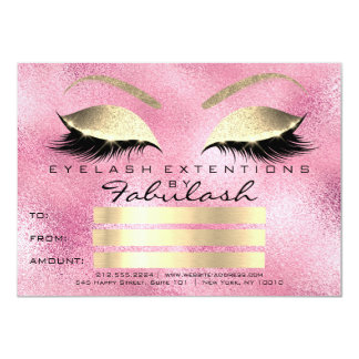 Lashes Rose Pink Gold Makeup Certificate Gift Card