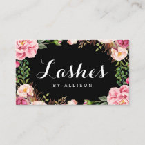 Lashes Script by Makeup Artist Trendy Floral Wrap Business Card