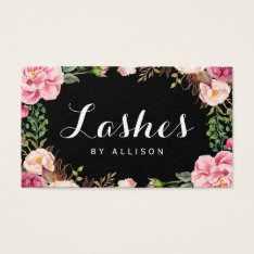 Lashes Script by Makeup Artist Trendy Floral Wrap Business Card at Zazzle