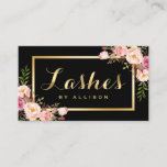 """Lashes Script Modern Makeup Black Gold Floral Business Card<br><div class=""""desc"""">Create a high end look and luxurious feel Business Card with this &quot;Modern Lashes Script Black Gold Floral&quot; template. It&#39;s easy and fun! (1) For further customization, please click the &quot;Customize&quot; button and use our design tool to modify this template. All text style, colors, sizes can be modified to fit...</div>"""
