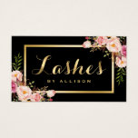 "Lashes Script Modern Makeup Black Gold Floral Business Card<br><div class=""desc"">Create a high end look and luxurious feel Business Card with this &quot;Modern Lashes Script Black Gold Floral&quot; template. It&#39;s easy and fun! (1) For further customization, please click the &quot;Customize&quot; button and use our design tool to modify this template. All text style, colors, sizes can be modified to fit...</div>"