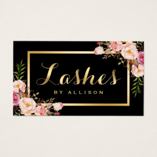 Lashes Script Modern Makeup Black Gold Floral Business Card
