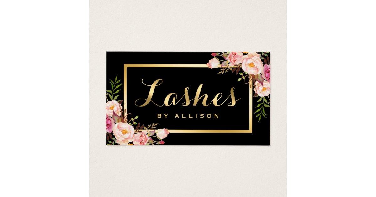 Lashes Script Modern Makeup Black Gold Floral Business Card | Zazzle.com