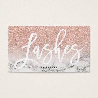 Lashes typography rose gold glitter marble business card