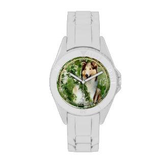 Lassie de la montaña del collie reloj de mano