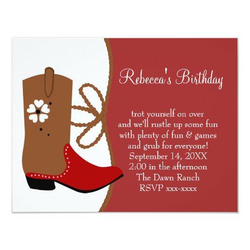 Lasso Cowgirl Birthday 4.25x5.5 Paper Invitation Card