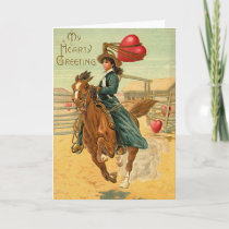 Lasso my heart Vintage Valentine Holiday Card