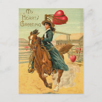 Lasso my heart Vintage Valentine Holiday Postcard