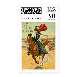 Lasso my heart Vintage Valentine's Day Stamp
