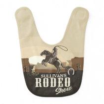 Lasso Roping Roundup ADD NAME Western Rodeo Show Baby Bib