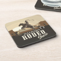 Lasso Roping Roundup ADD NAME Western Rodeo Show Beverage Coaster