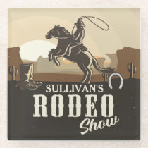 Lasso Roping Roundup ADD NAME Western Rodeo Show Glass Coaster