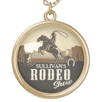 Lasso Roping Roundup ADD NAME Western Rodeo Show Gold Plated Necklace