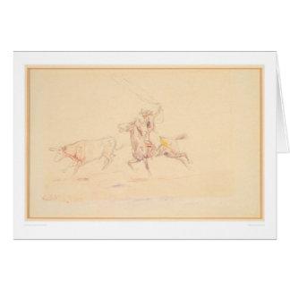 Lassoing el buey 1905 (1418A) Tarjeta De Felicitación