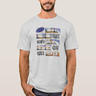 Last Call Cartoons First Round's on Me! strips T-Shirt