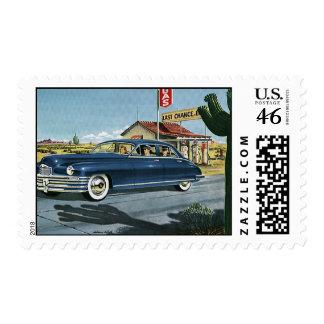 Last Chance Gas Vintage Transportation Car Postage Stamp