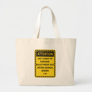 Last chance to buy bullet-proof vest before GA! Large Tote Bag