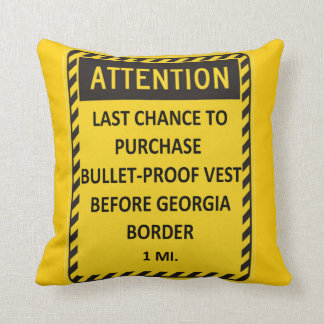 Last chance to buy bullet-proof vest before GA! Throw Pillows
