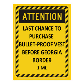 Last chance to buy bullet-proof vest before GA! Postcard
