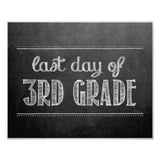 Last Day of 3rd Grade Chalkboard Sign Photo