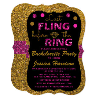 Last Fling Before The Ring - Bachelorette Party Card